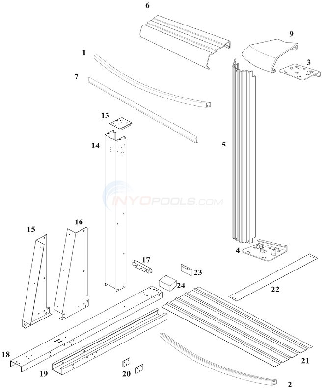 Reprieve & Concord 48 12'x17' Yardmore Oval (Steel Top Rail, Steel Upright) Diagram