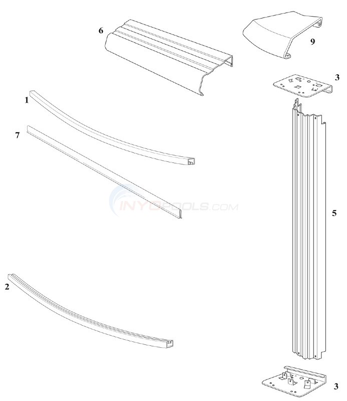 "Reprieve & Concord 30' Round 48"" Wall (Steel Top Rail, Steel Upright) Diagram"