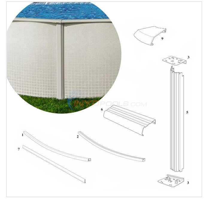 "Reprieve 52"" Wall 21' Round (Steel Top Rail, Steel Upright) Diagram"