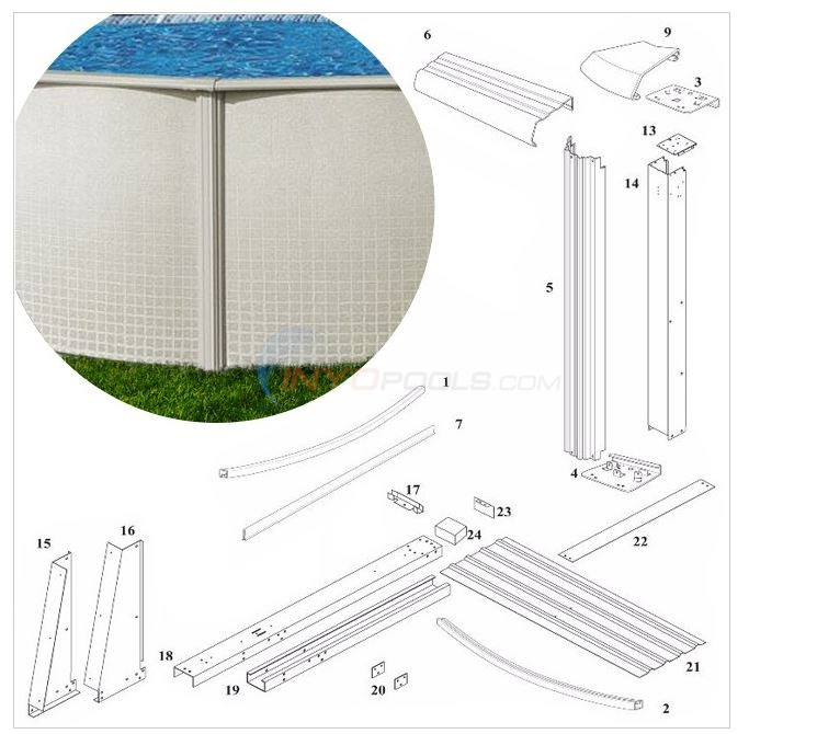 "Reprieve 48"" Wall 12'x24' Yardmore Oval (Steel Top Rail, Steel Upright)  Diagram"