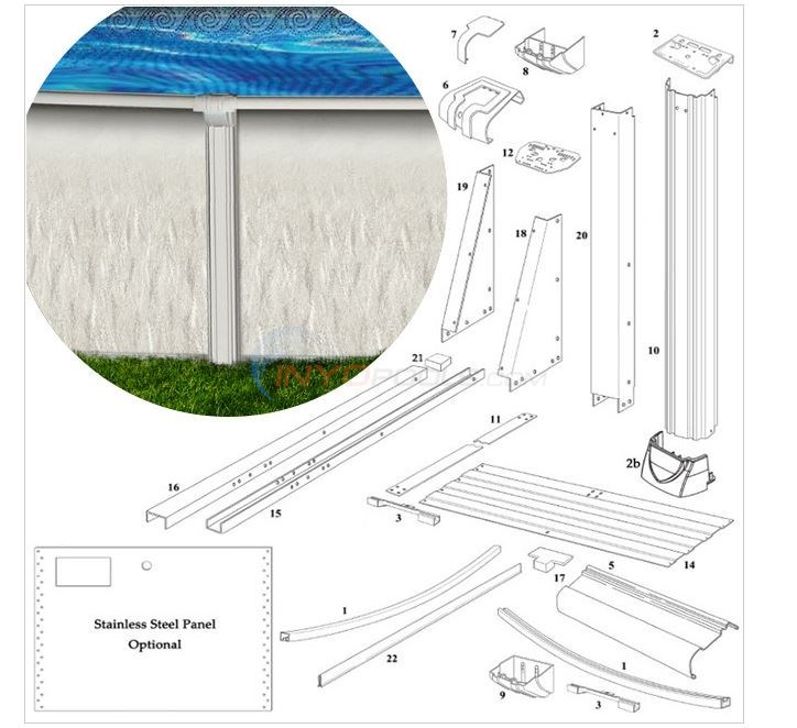 "Riverside Oval Buttressless RTR 18'x33' x 52"" Wall (Resin Top Rail, Steel Upright) Diagram"