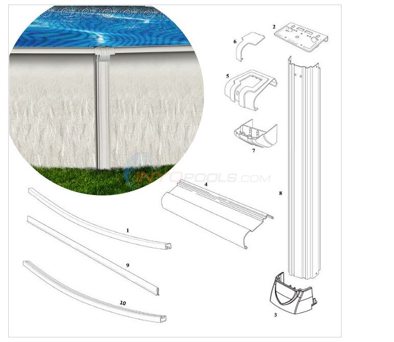 "Riverside 12' Round 52"" Wall (Resin Top Rail, Steel Upright) Diagram"