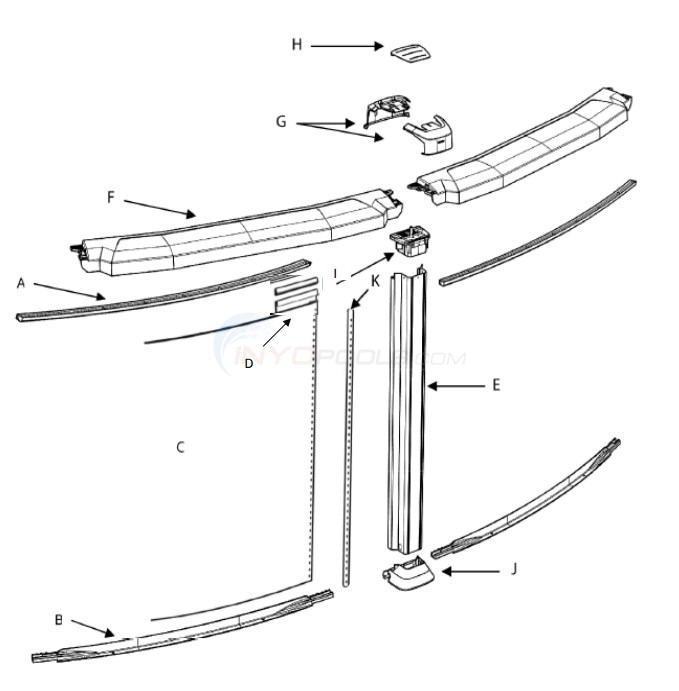 "Saltwater 8000 24' Round 54"" (Resin Top Rail, Steel Upright) Diagram"