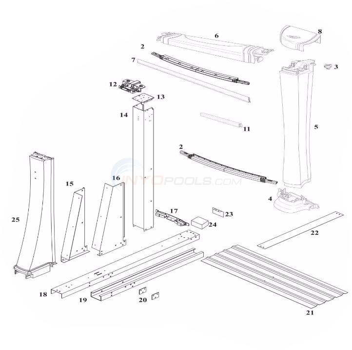 "Seneca 54"" 18'x33' Yardmore Oval (Rein Top Rail, Resin Upright) Diagram"
