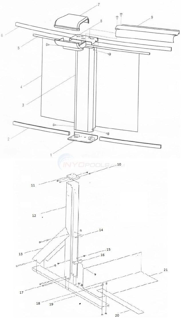 Sequoia 15'x25' Oval (Aluminum Top Rail, Aluminum Upright) Diagram