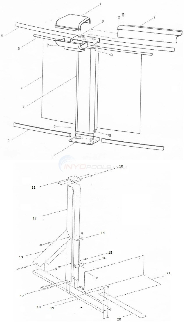 Sequoia 18'x33' Oval (Aluminum Top Rail, Aluminum Upright) Diagram