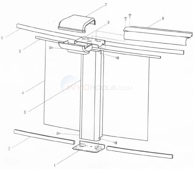 "Sequoia 8' Round 52"" Wall (Aluminum Top Rail, Aluminum Upright) Diagram"