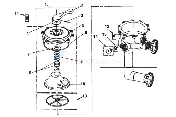 Jandy Side Mount Valve-DE (SM20-2) Diagram