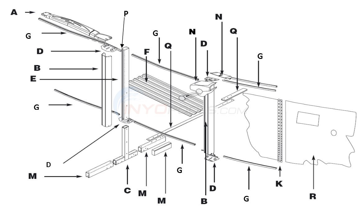 "Simbio 12x19' Oval 52"" (Resin Top Rail, Steel Upright, Steel Stabilizer) Parts Diagram"