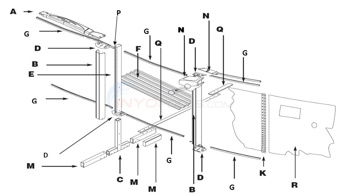 "Simbio 12x23' Oval 52"" (Resin Top Rail, Steel Upright, Steel Stabilizer) Parts Diagram"
