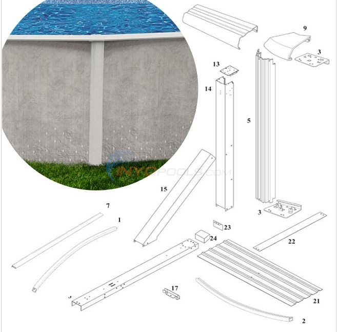 "Solstice 52"" 12'x24' Oval w/ Buttress (Steel Top Rail, Steel Upright) Diagram"