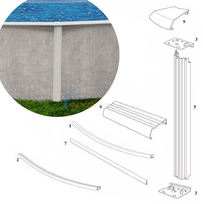 "Solstice 52"" 12' Round (Steel Top Rail, Steel Upright) Diagram"