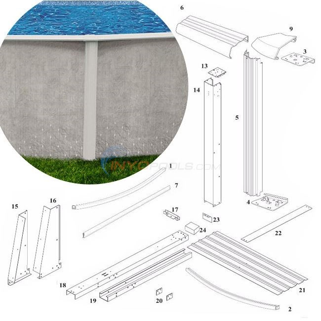 "Solstice 52"" 12'x18'x Yardmore Oval (Steel Top Rail, Steel Upright) Diagram"
