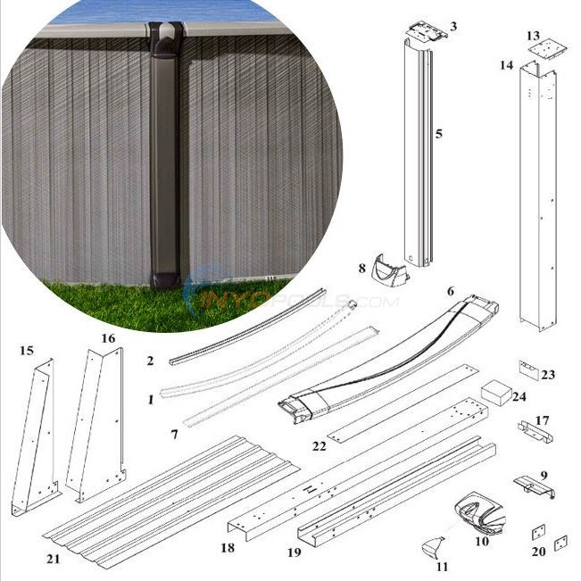 "Spirit 54"" 15'x26' Yardmore Oval (Resin Top Rail, Steel Upright) Diagram"