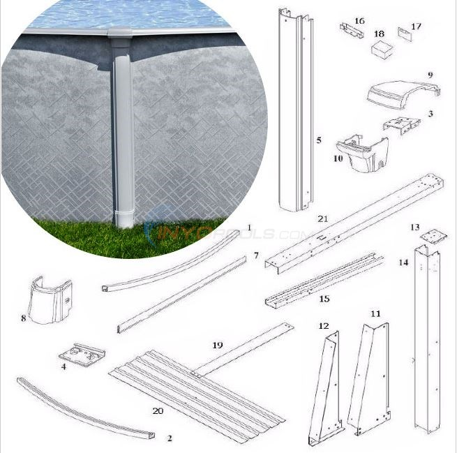 "Summerfield 54"" 12'x24' Yardmore Oval (Steel Top Rail, Steel Upright) Diagram"