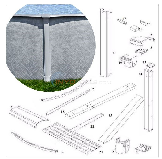 "Summerfield 48"" 18'x33' Oval w/ Buttress (Steel Top Rail, Steel Upright) Diagram"