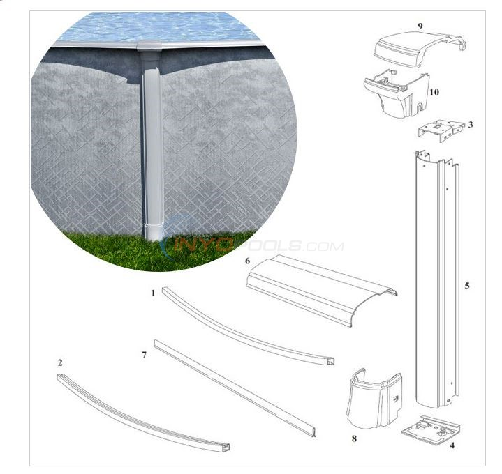 "Summerfield 52"" Wall 12' Round (Resin Top Rail, Steel Upright) Diagram"
