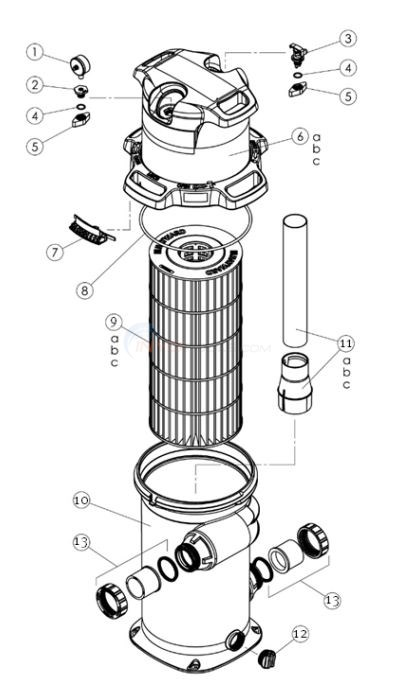 Hayward SwimClear Cartridge Filter C100S, C150S, C200S Diagram