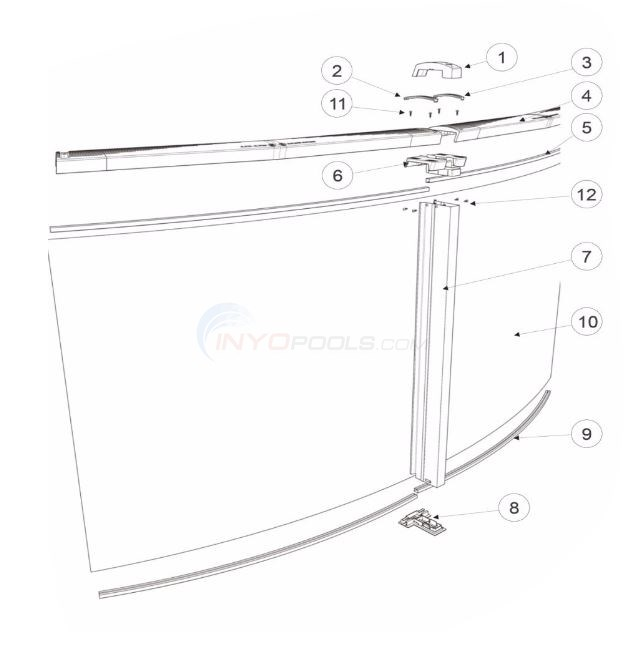"The S Pool 33' Round 54"" Wall (Resin Top Rail, Steel Upright) Diagram"
