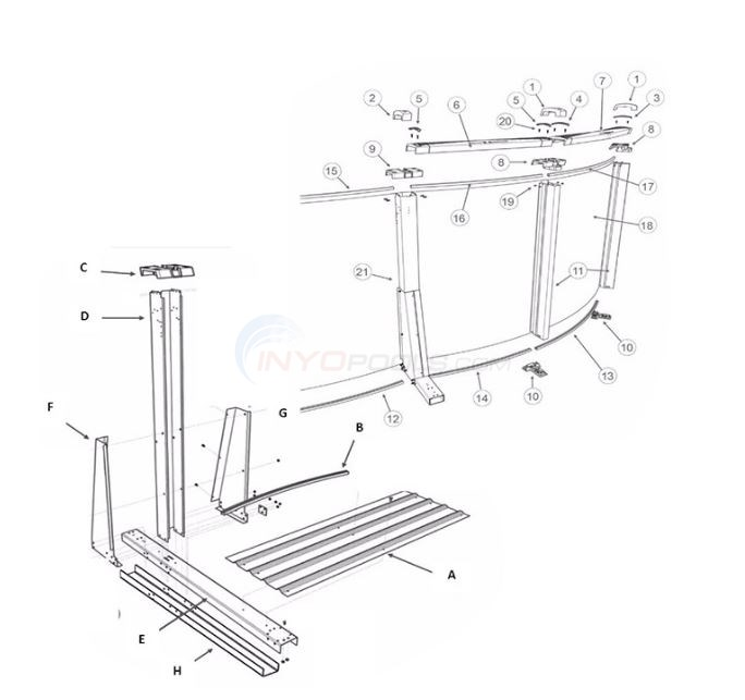"The S Pool 15'x26' Yardmore Oval 52"" Wall (Resin Top Rail, Steel Upright) Diagram"
