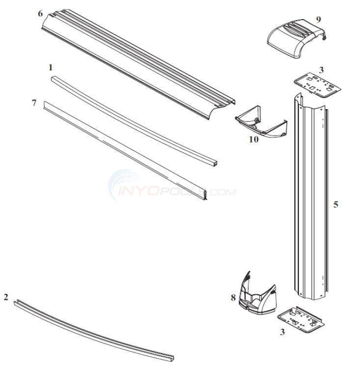 "Voyager 21' Round 52"" Wall (Steel Top Rail, Steel Upright) Diagram"