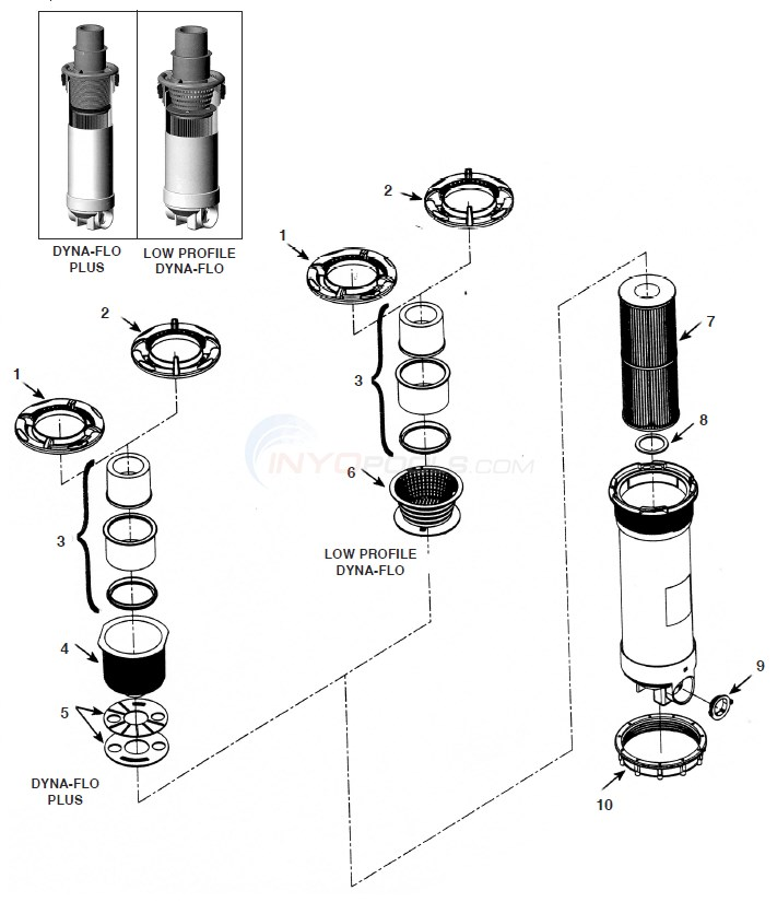 Waterway Dyna Flo T/M Skim Filter Diagram