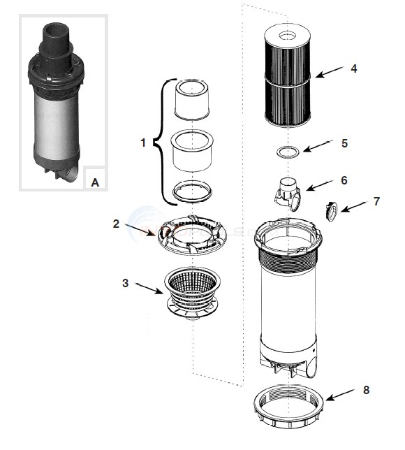 Waterway Dyna-Flo XL Skim Filter Diagram
