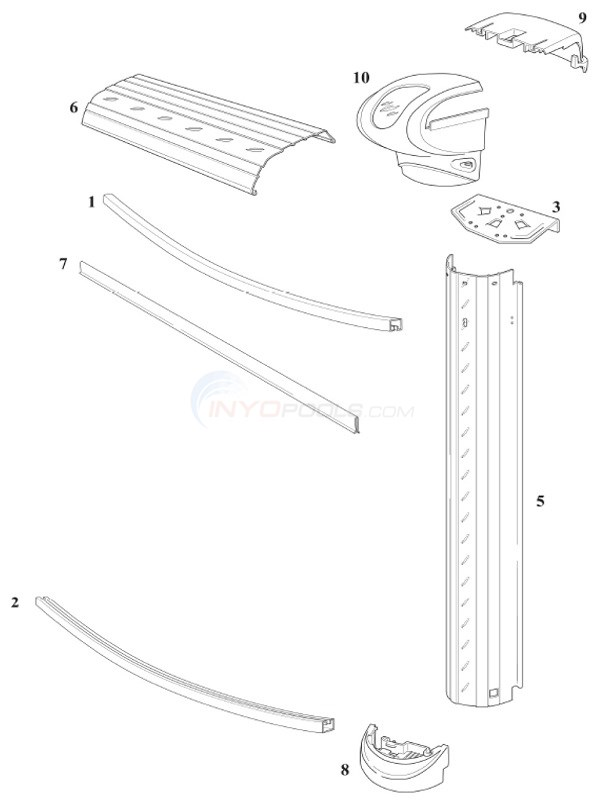 Heritage 27 39 round 52 wall resin top rail resin upright parts for Above ground swimming pool wall parts