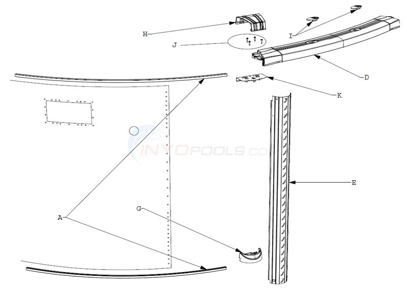 "Celebration 12' Round 52"" Wall (Resin Top Rail, Steel Upright) Diagram"