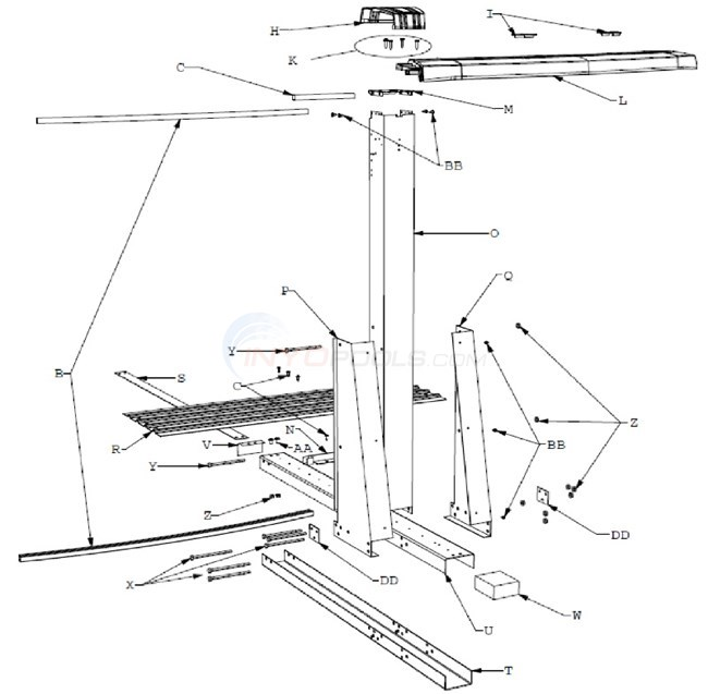 Celebration 15'x26' Yardmore Oval (Resin Top Rail, Steel Upright) Diagram