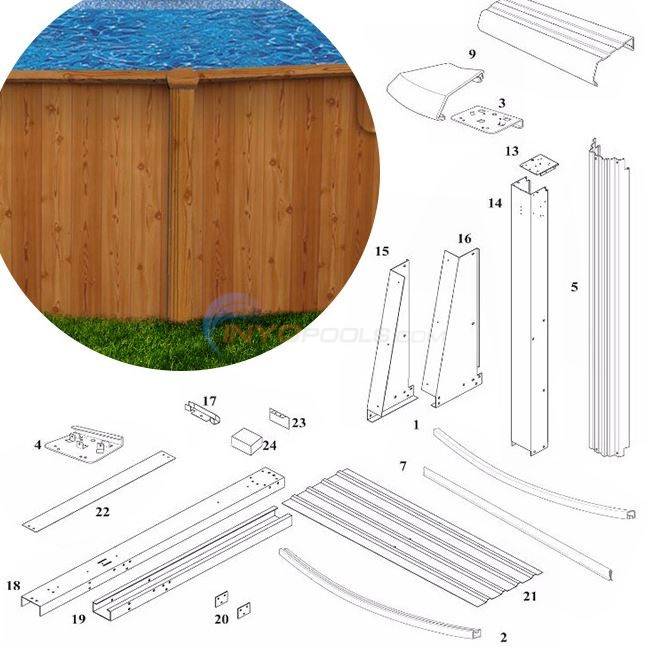 "Woodlawn 52"" 12'x24' Yardmore Oval (Printed Steel Top Rail, Printed Steel Upright) Diagram"
