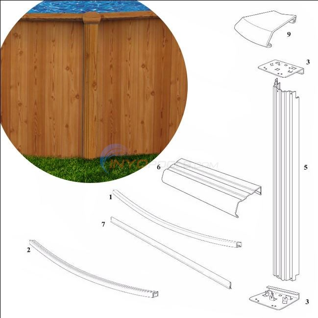"Woodlawn 12' Round 52"" Wall (Printed Steel Top Rail, Printed Steel Upright) Diagram"