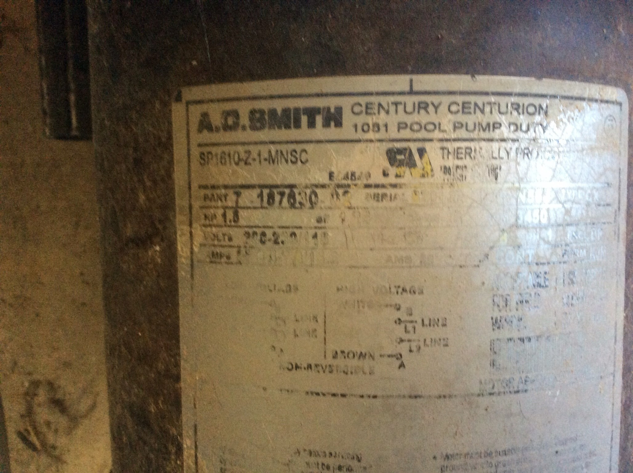 Century 1.5 HP Round Flange Up Rate Motor (C48L2N134) Formerly A.O. Smith - UST1152