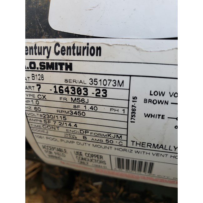 A.O. Smith Century 1.0 HP Round Flange 56J Full Rate EE Motor - B128