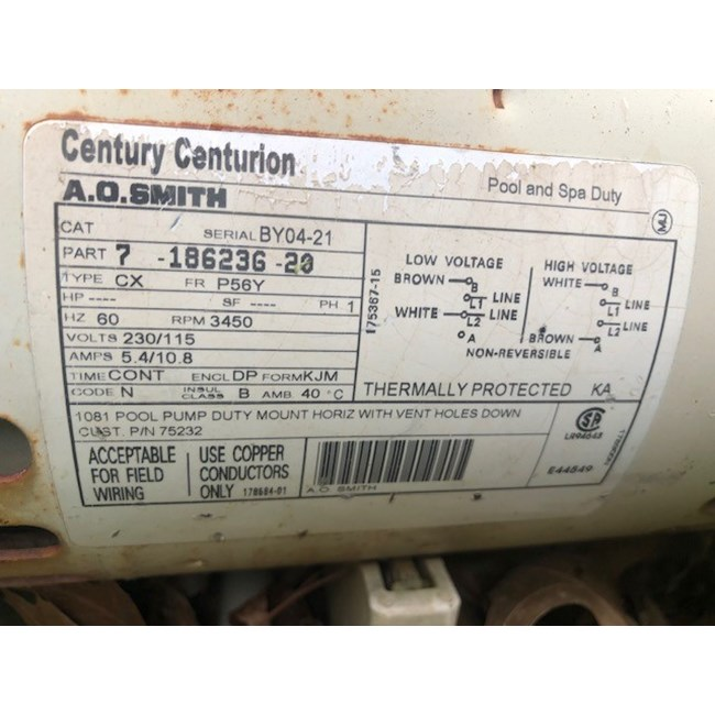 A.O. Smith Century 1/2 HP Square Flange 56Y Full Rate Motor - B2846