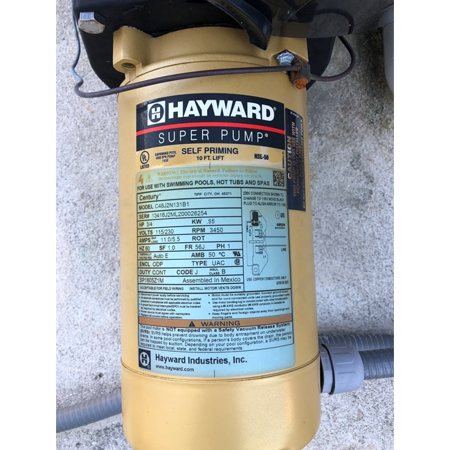 Hayward Super Pump 3/4 HP Single Speed - W3SP2605X7