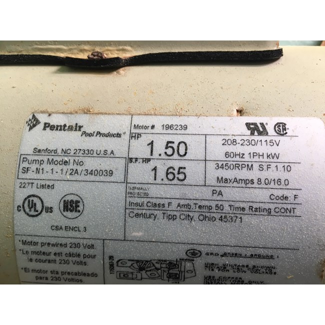 Pentair OEM Motor WFE-4/WF-26 1HP Almond - 355010S