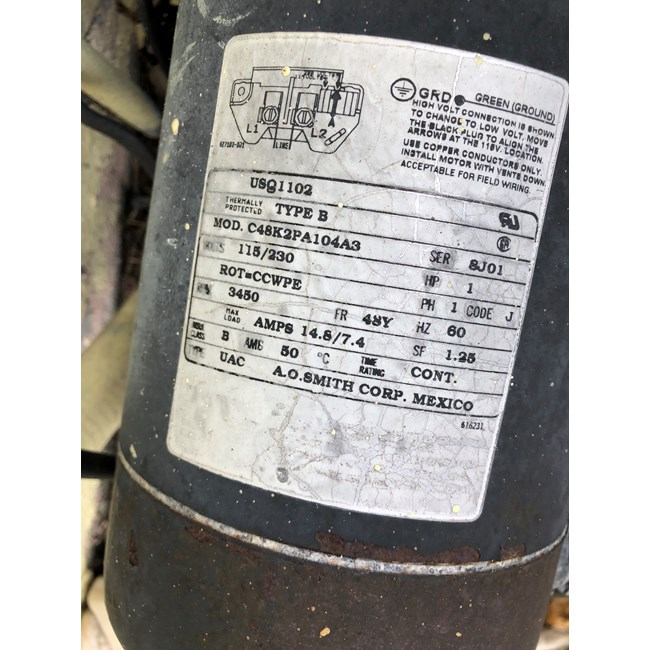 A.O. Smith 1 HP Square Flange 48Y Up Rate Motor - USQ1102