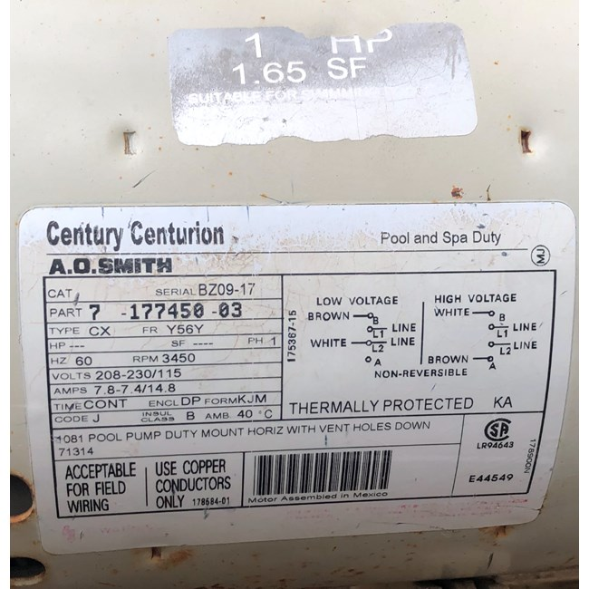 A.O. Smith 1 HP Square Flange 56Y Full Rate EE Motor - B2841V1