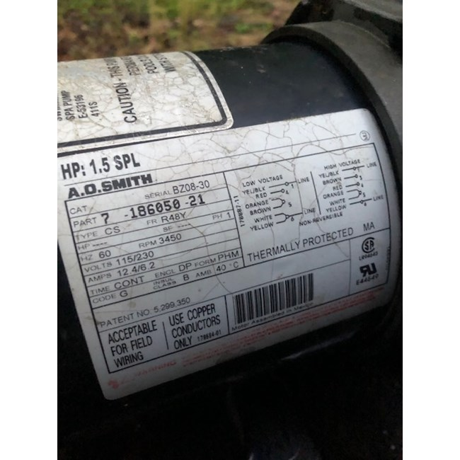 A.O. Smith 1.5 HP Round Flange 56J Up Rate Motor - UST1152