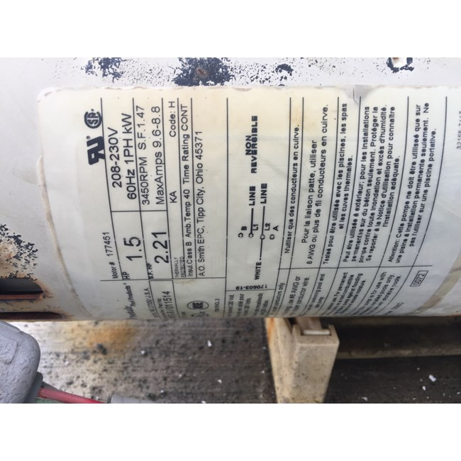 A.O. Smith Century 1.5 HP Square Flange 56Y Full Rate EE Motor - B2842