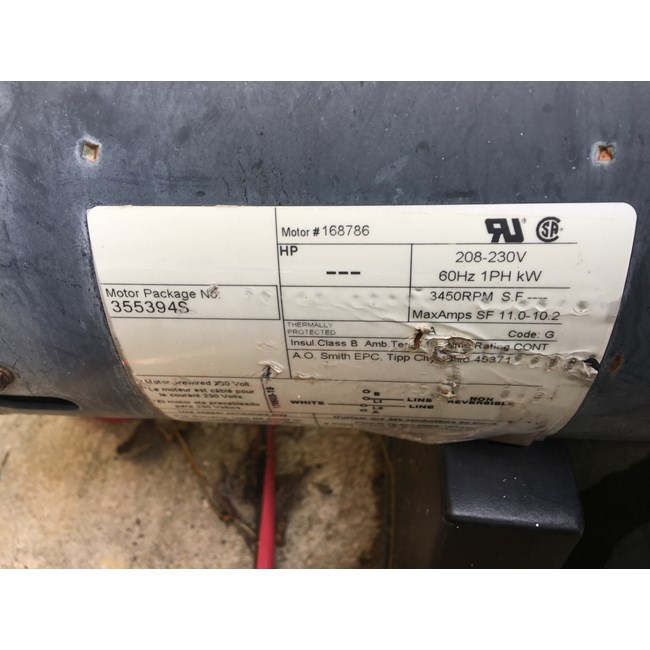 A.O. Smith 2 HP Square Flange 56Y Full Rate EE Motor - B2843