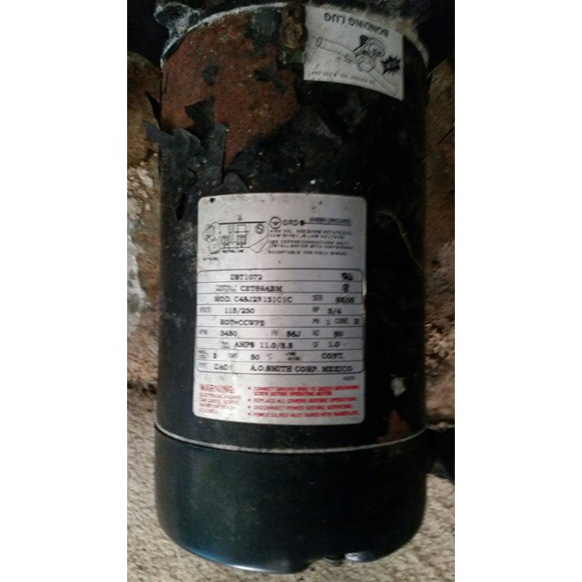 A.O. Smith 3/4 HP Round Flange 56J Up Rate Motor - UST1072