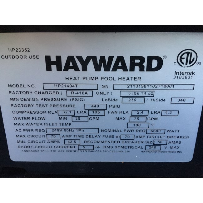 Hayward HeatPro Heat Pump 140,000 BTU - HP21404T
