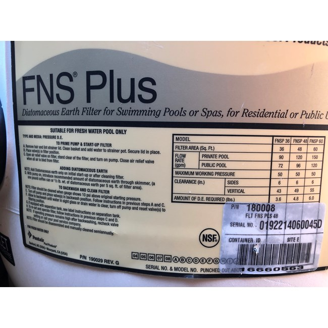 Pentair FNS Plus 48 sqft D.E. Filter w/o Valve - 180008