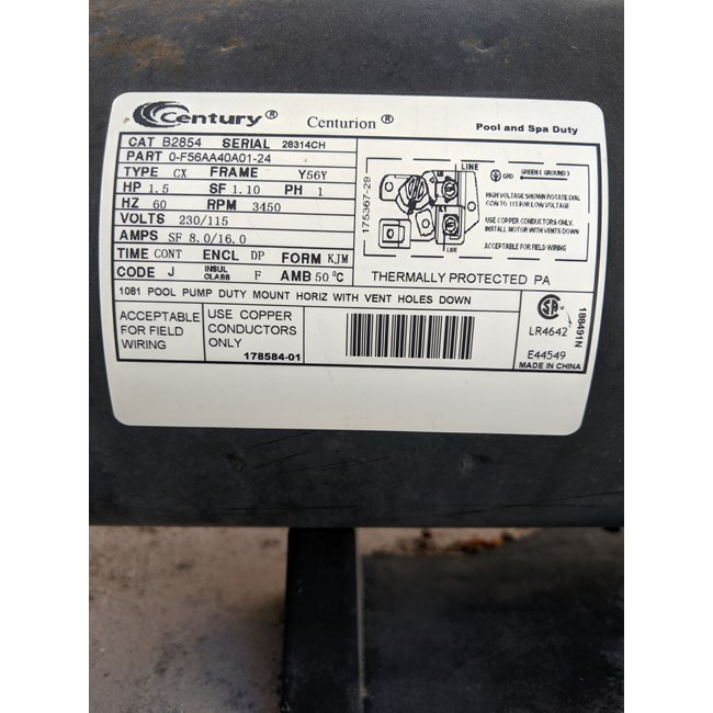 PureLine 1 5 HP Square Flange 56Y Up Rate Motor PL2854