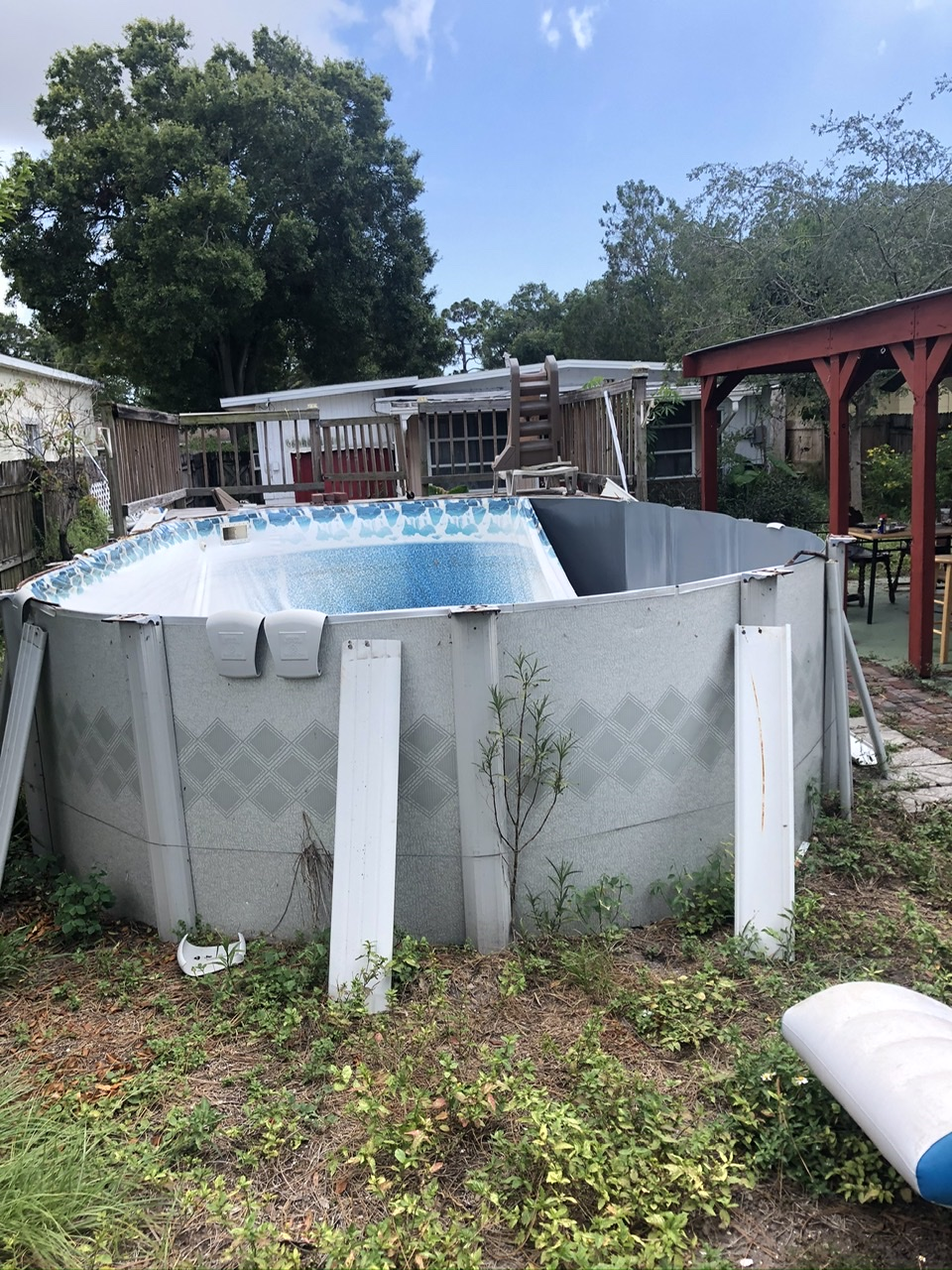 This is a picture of the pool showing the top edge where the metal coping goes.