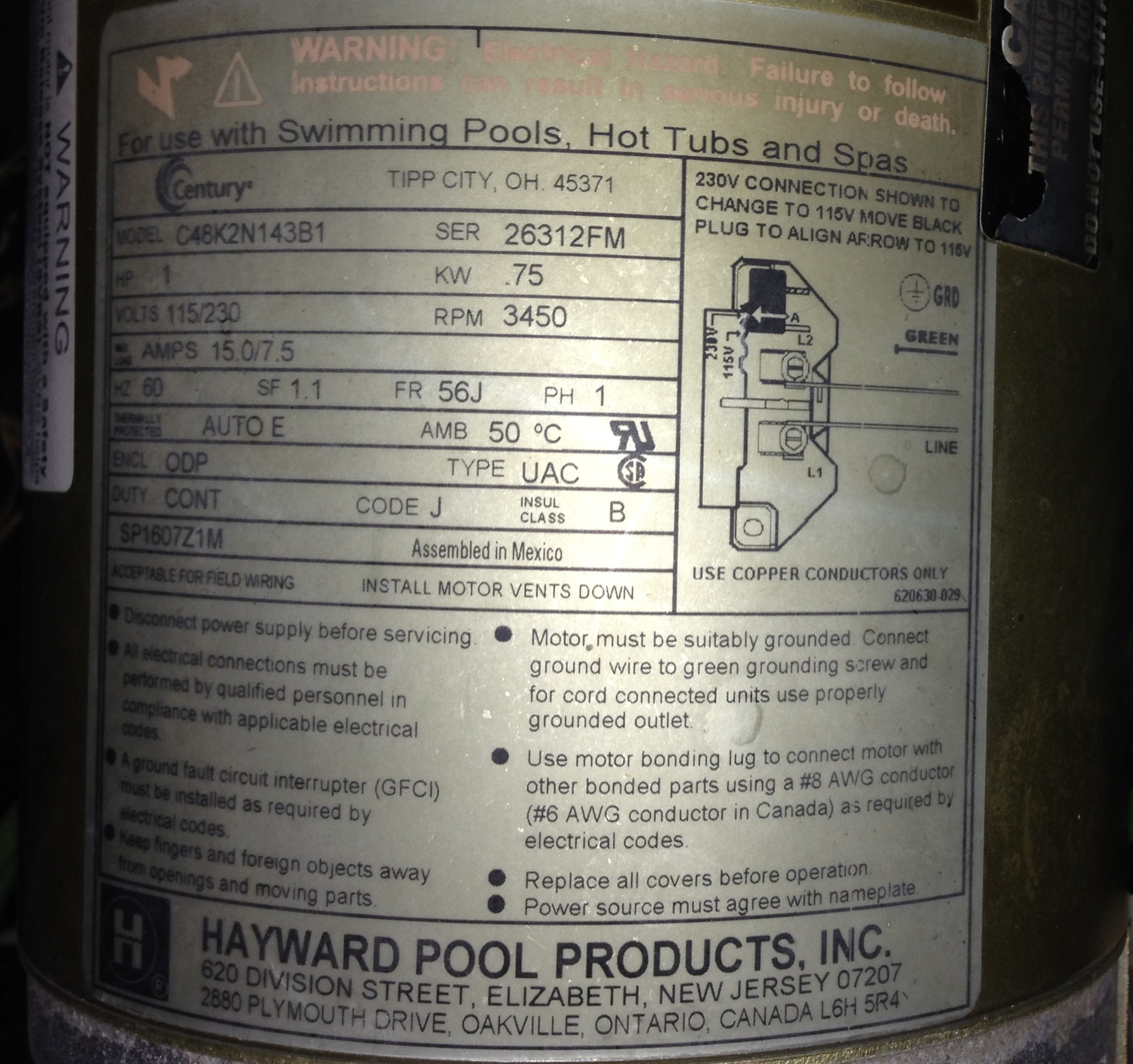 hayward pool pump parts manual