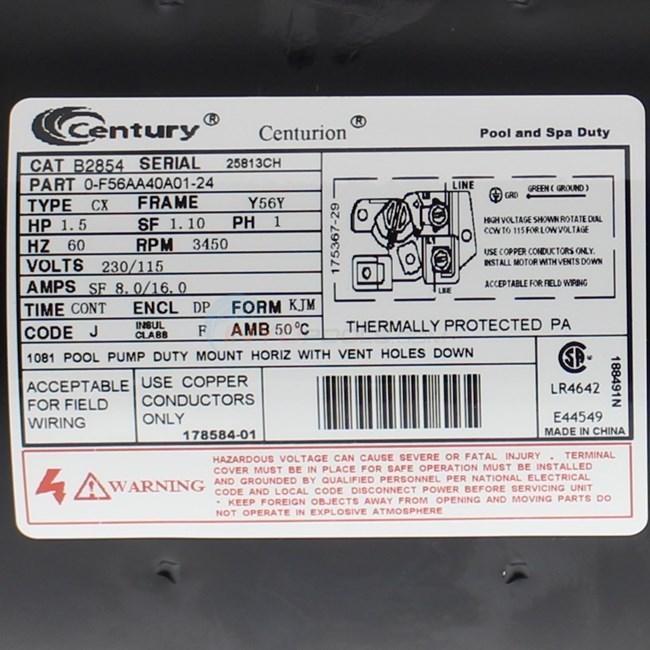 century-b2854-1  Hp Pool Motors Wiring Diagram on