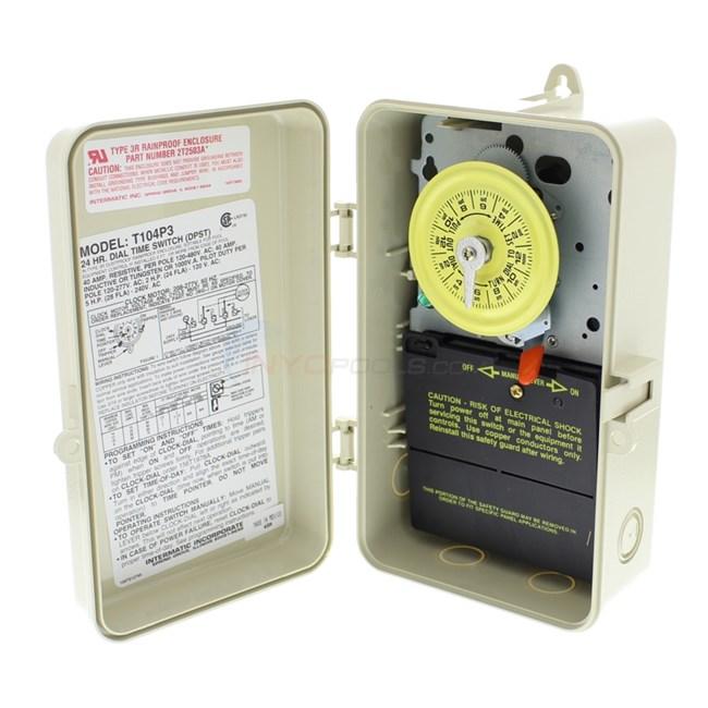 Intermatic timer 220 volt plastic enclosure t104p3 for Intermatic pool timer clock motor